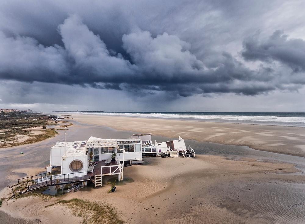 Beach bar, Le Club 7, destroyed by Storm Emma.