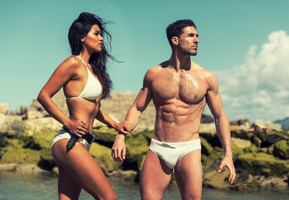 Swimwear fashion with the super models, Sandy Vigo and Alejandro Ortiz.