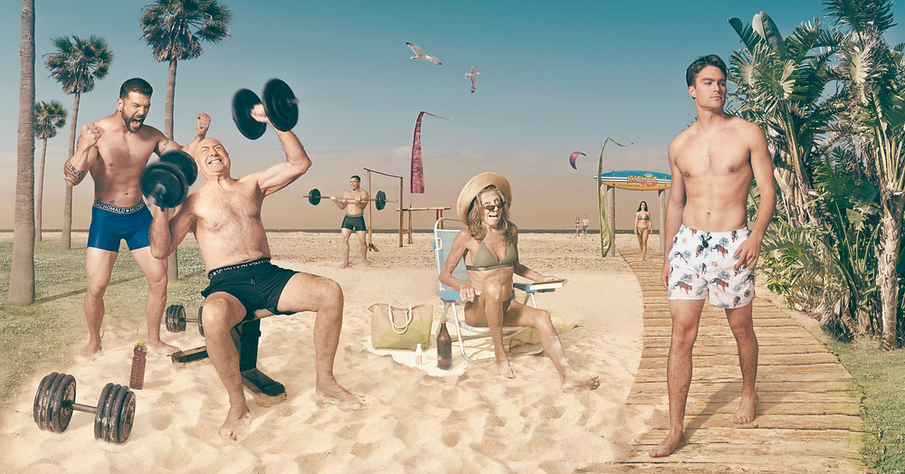 The beach people series was photographed against a chroma key background, and later photoshopped into different beach panoramas created by photographer Ben Welsh.