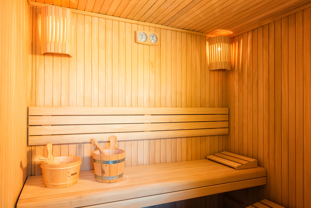 A warm and relaxing sauna.