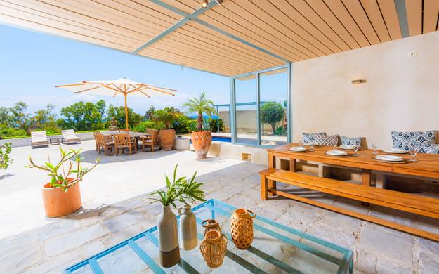 Sunny outdoor terrace.