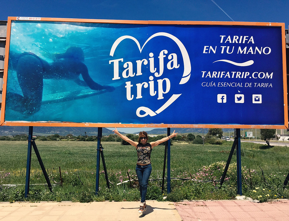 Tarifatrip billboard advertising, Tarifa, Cadiz, Costa de la Luz, Andalusia, Spain.