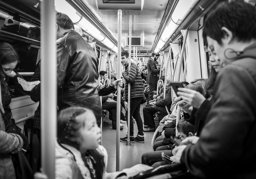 Inside the Madrid metro.