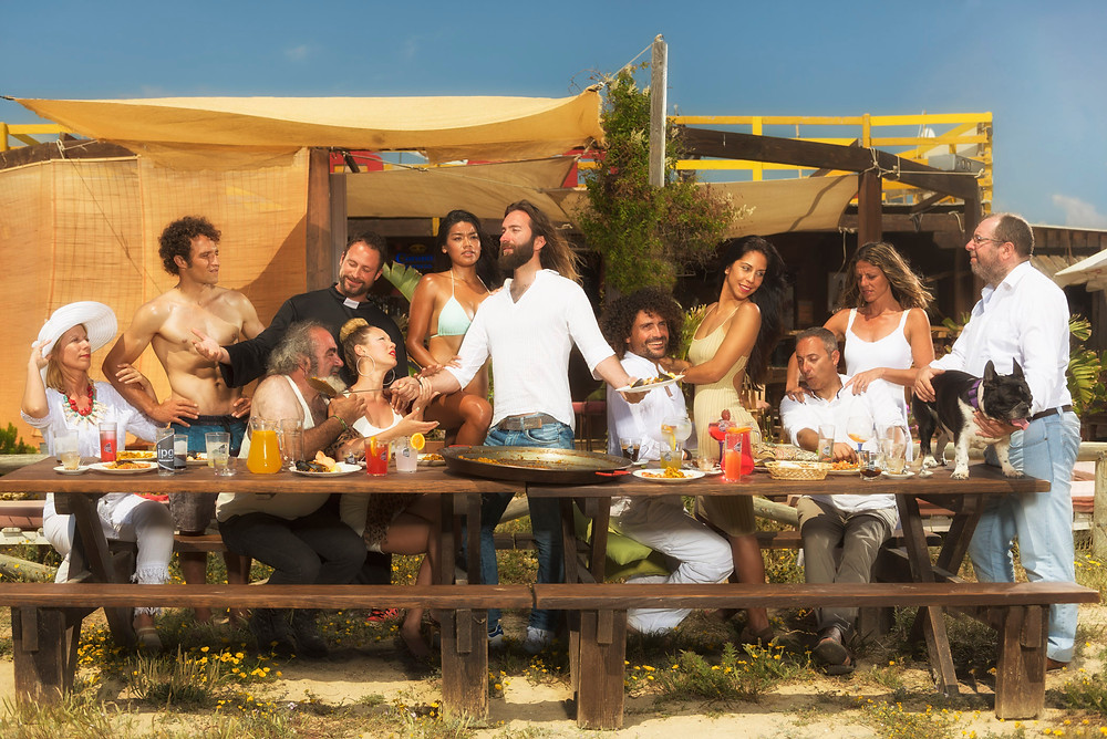 A parody of the last supper, part of the commercial spot photographed and filmed by Ben Welsh in Tarifa.