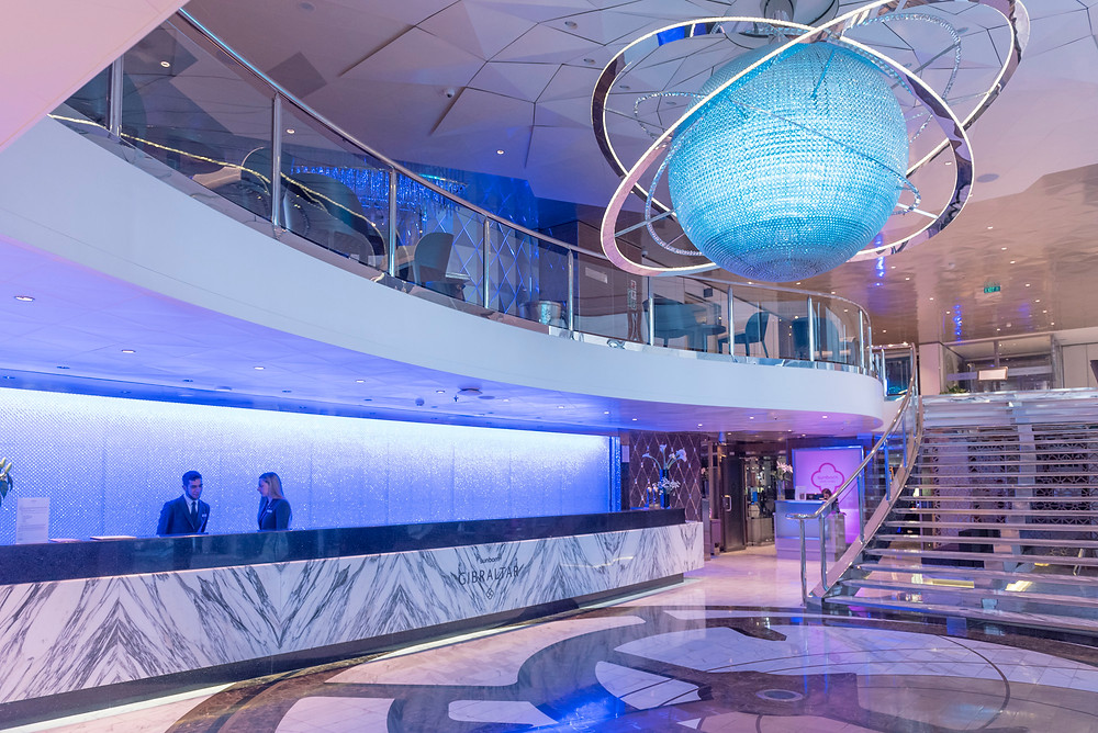 The reception area of the Sun Born Yacht Hotel. A stunning venue in Gibraltar.