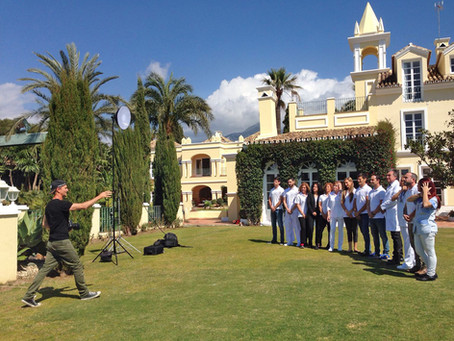 Group photo shoot at luxury property Villa Poniente, Marbella, Spain.