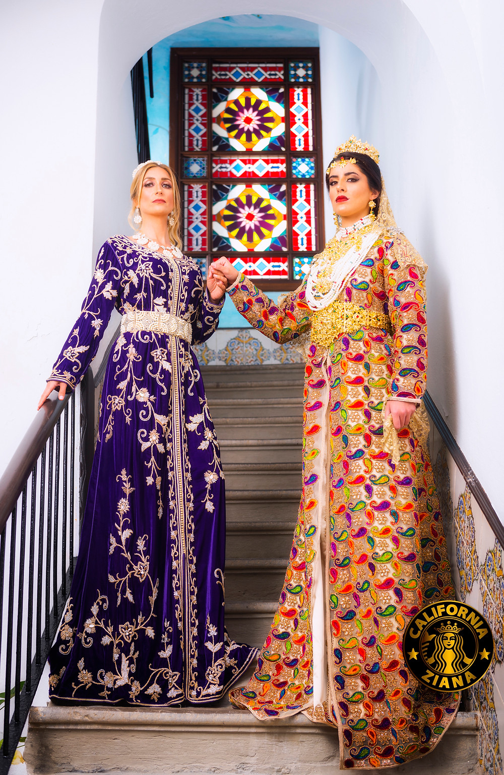 Two models in kaftan dresses photographed by Ben Welsh.