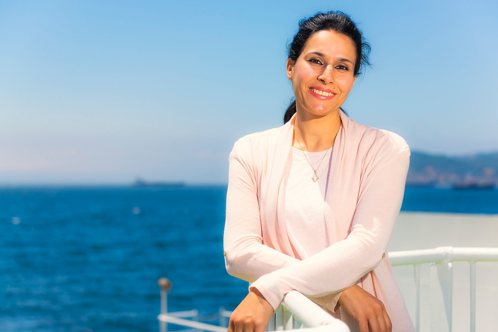 Portrait of a moroccan woman on board of the ferry.