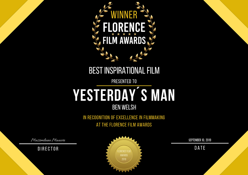 The award for the short film; Yesterday´s Man.