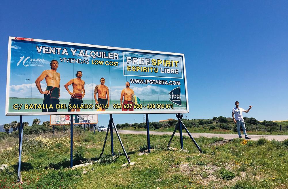 Billboards all over Tarifa, Cadiz, Andalusia, Spain.