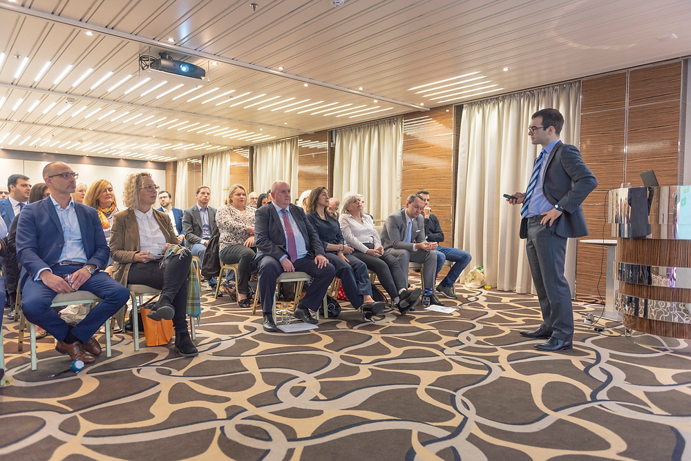 The speaker and the members, in the atlas conference room, onboard of the Sun Born Yacht Hotel, in the Marina Bay, Gibraltar.