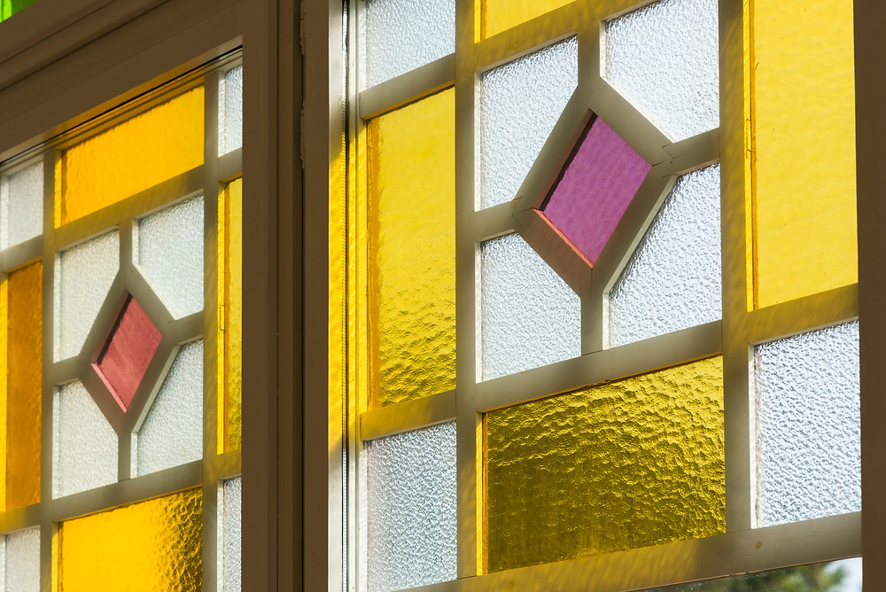 Detail of colored glass windows.