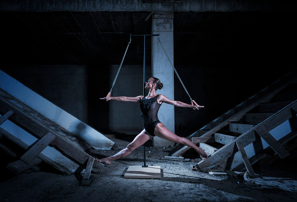 Rocio Carceles photographed in a abandoned warehouse