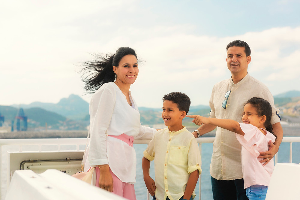 Moroccan family on the deck of the ferry leaving Tangier.