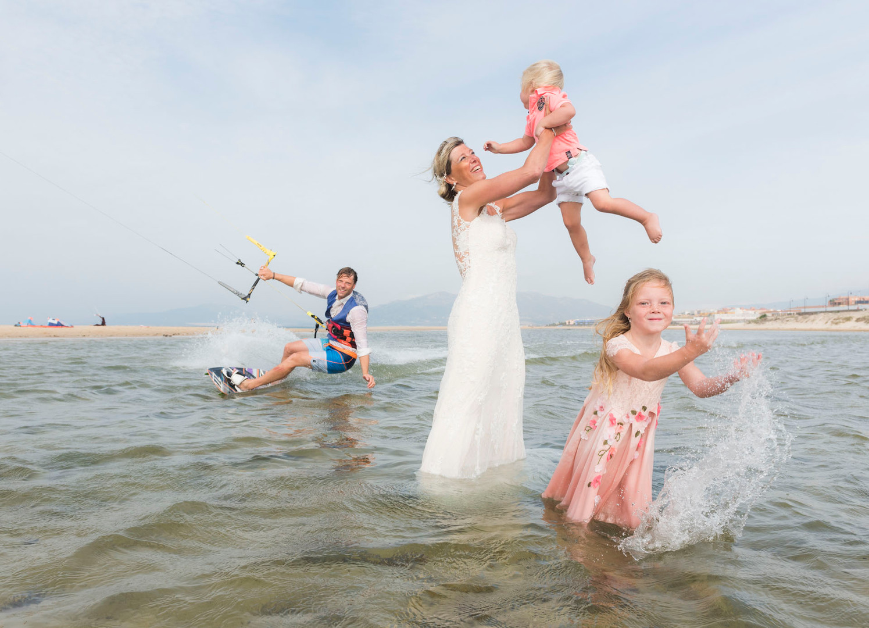 Familia en la playa.