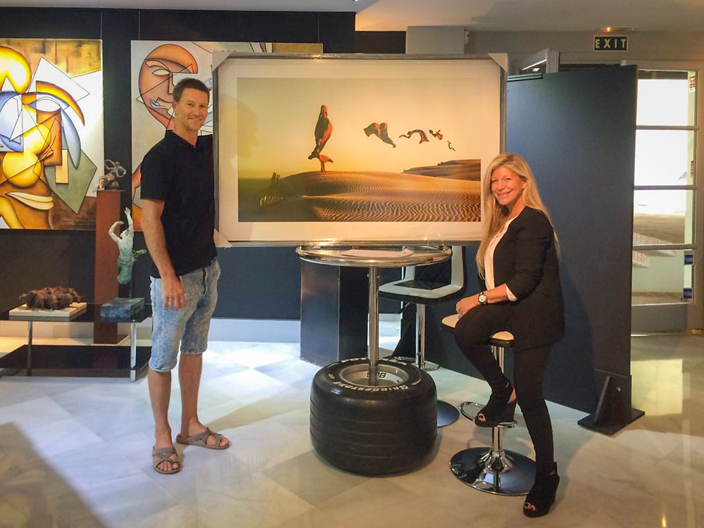 Mercedes Duerinckx and Ben Welsh at the Wanson Art Gallery at Marbella, Spain.