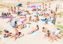 Personas en la playa.