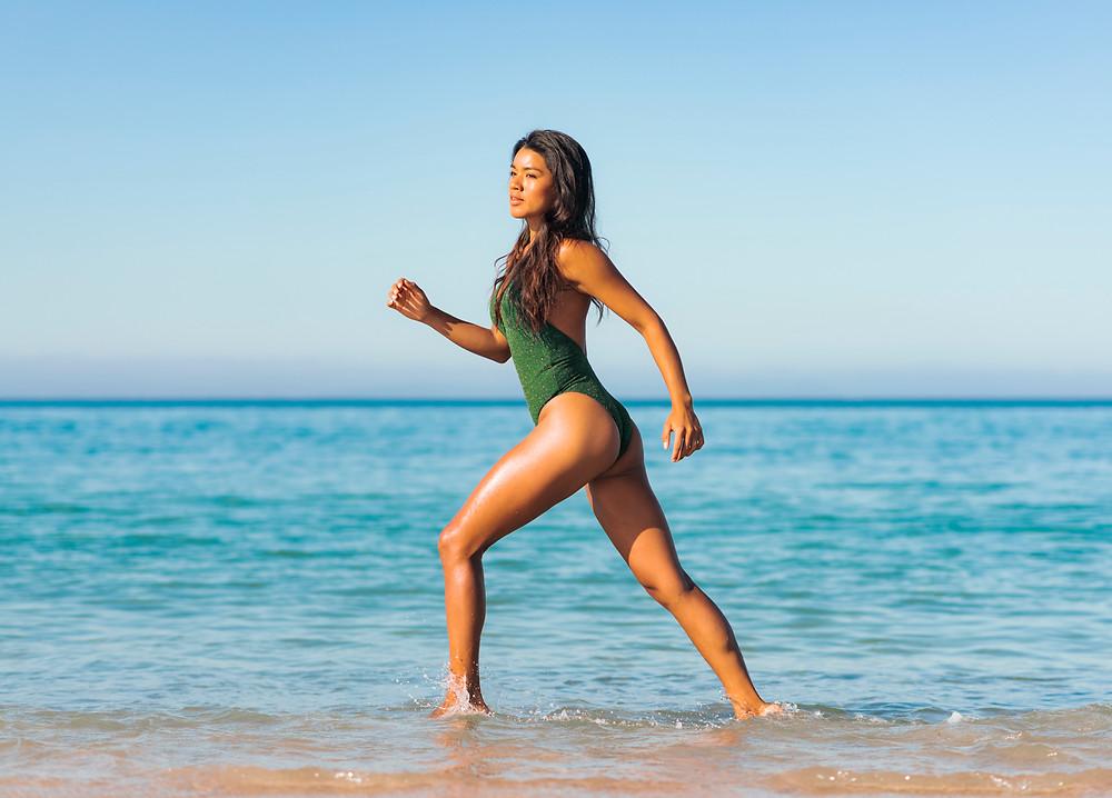 Swimwear fashion photo shoot in Tarifa, Costa de la Luz, Cadiz, Andalusia, Spain.