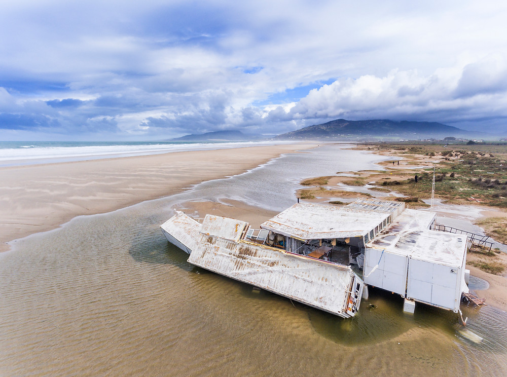 Drone view of a beach bar in Tarifa after the storm.