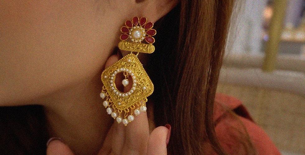 Shiksha Signature Earrings - Crimson