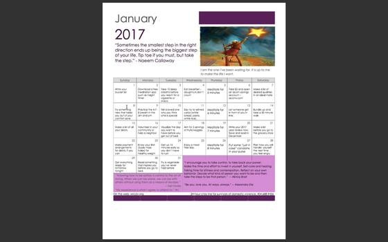 January Self Care Calendar
