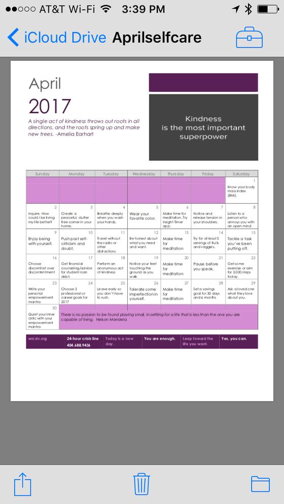 April self care calendar