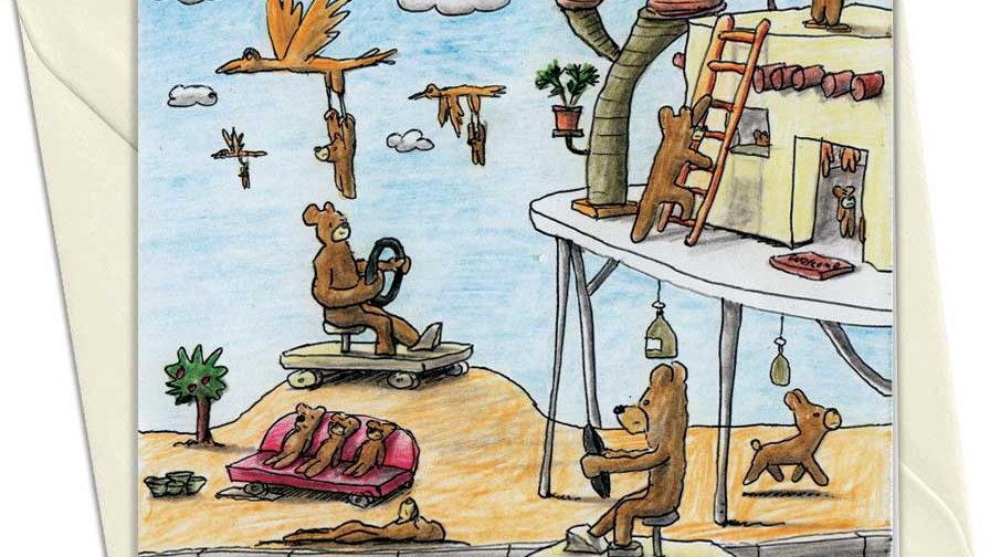 Teddy Bears Scene w/Ladder