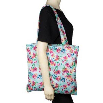 Aqua floral tote bag