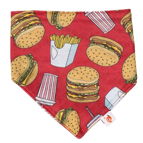 Burger adventure bandana bib