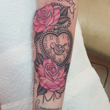 Heart Pocketwatch Rose Tattoo