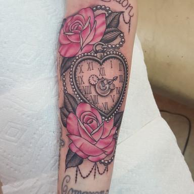 Heart Pocketwatch Rose Tattoo