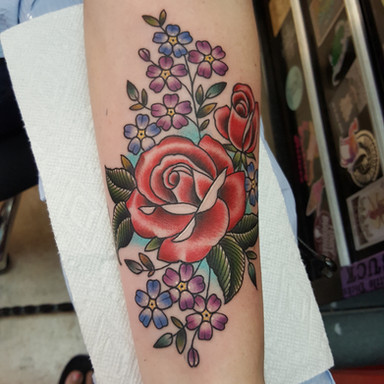 Rose and Flowers Tattoo