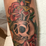Skull Rose Dagger Tattoo