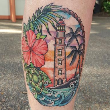 Tropical Lighthouse Tattoo