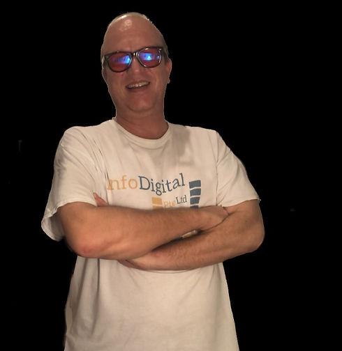 Fred White Info Digital Shirt Black BG.j