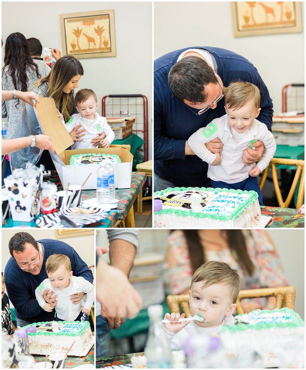 cake time at zoo birthday party