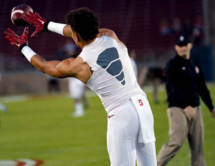 Stanford Football warming up.  Invisiblesmiley (c)2020