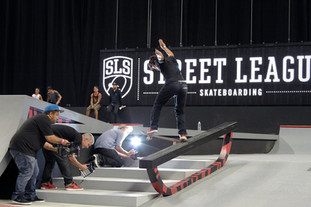 Paul Rodriguez switch tail slide skateboard trick at Street League Portland.  Invisiblesmiley (c)2020