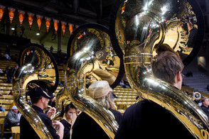 The band plays at a CU basketball game.  Invisiblesmiley (c)2020