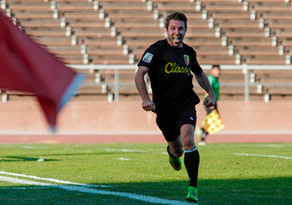 Celebrating after scoring a goal for San Francisco City Football Club.  Invisiblesmiley (c)2020