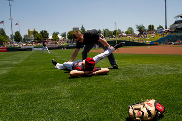 Adam Duval stretches before a Rivercats game.  Invisiblesmiley (c)2020