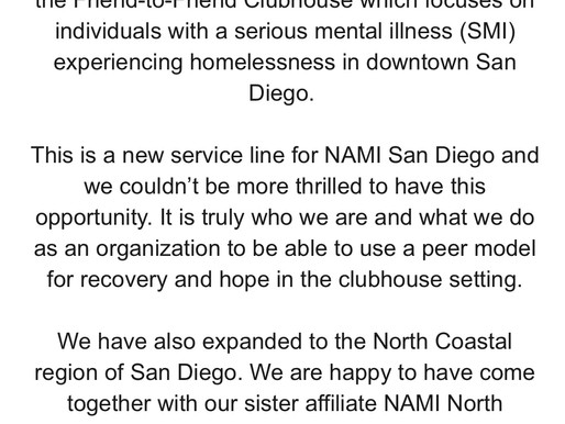 NAMI SD granted county contract to operate Friends to Friends Clubhouse