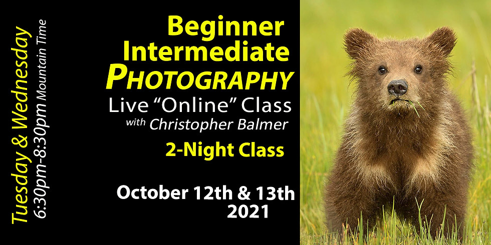 Beginner Intermediate Photography Course October 12th & 13th, 2021