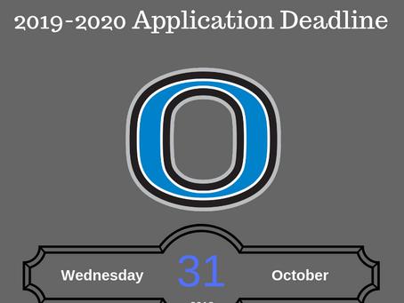 2019-2020 Application Deadline - New Students