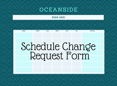 Schedule Change Request - Now Closed
