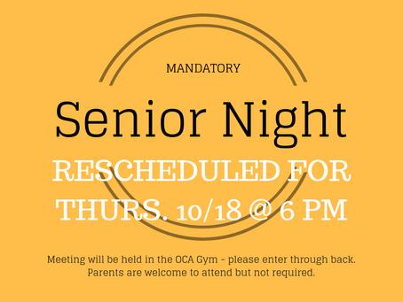 Senior Night RESCHEDULED for 10/18!