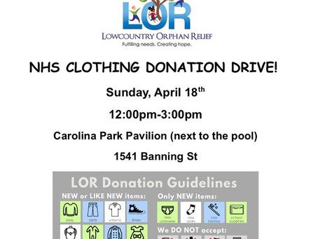 Lowcountry Orphan Relief drive 4/18
