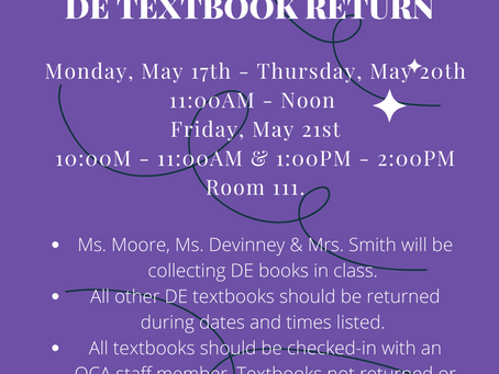 Textbook Return Schedule