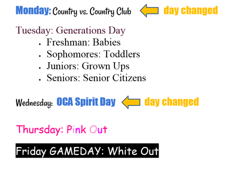 Spirit Week **UPDATED**