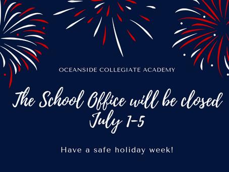 OCA Offices Closed July 1-5